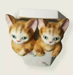 Mann Siames / Twin Kittens / Cats In A Music Box Memory Vintage 1982 Porcelain
