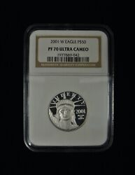 2001 W 50 Platinum American Eagle - Ngc Pf70 Ultra Cameo - Perfect Coin