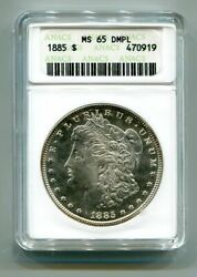 1885 Morgan Silver Dollar Anacs Ms65 Dmpl Original Coin Priced At Wholesale Bid
