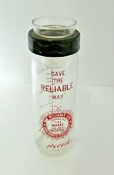 Glass Vintage Baby Bottle Hygeia Screw Top Reliable Life Insurance Company Usa