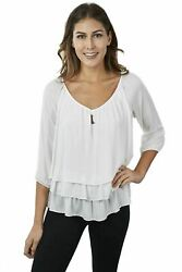 Joseph Ribkoff Wide V-neck 3/4 Sleeves Tiered Flowy Casual Blouse 171292 New