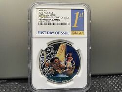 2017 Niue Ngc Pf70 Ultra Cameo First Day Of Issue Disney Moana And Maui