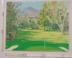 Vtg Rivers Painting Oil On Artist Board Golfing Golf Course Scene Putting Green