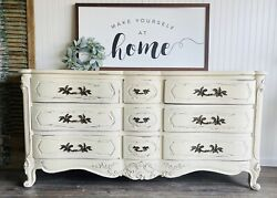 Antique Farmhouse Dresser French Provincial Painted Chalkpaint