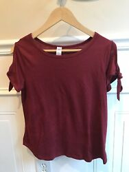 Burgundy Cold Shoulder Women's Top With Bows On Sleeves Size Medium 7 9 $8.99
