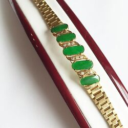 New Green Jade Womens Bracelet 14k Solid Real Yellow Gold - 6 Inches - B42