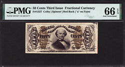 Fr 1327 50andcent Third Issue Fractional Currency Pmg 66 Epq - Pq For The Grade