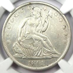 1861-o Seated Liberty Half Dollar 50c - Ngc Au Detail - Bisected Date Variety