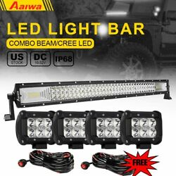 32inch 520w Led Light Bar Spot Flood Work Lamp +2x 4 Pods Cube Wire Offroad Ute