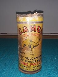 Vintage Rare Camel Tire Tube Rubber Patch Repair Kit 6 Tall Gas Oil Can No Lid