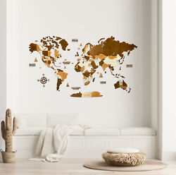 Multilayered Wooden World Wall Map In Brown Colors Xl Size 78 X 39andrdquo