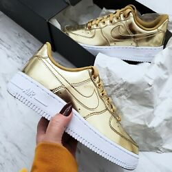 Nike Air Force 1 Low Metallic Gold Womenand039s Shoes Size 5.5 Style Cq6566 700