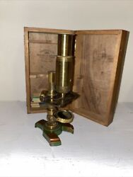 Antique Brass Microscope With Wooden Case And 7 Slides W/specimens, Extra Lense