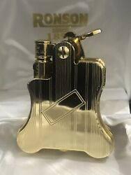 Ronson Banjo Petrol Lighter Gold Plate Very Rare And Collectible New And Boxed