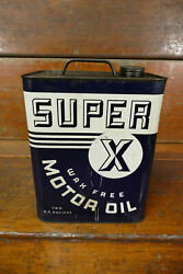 Vintage Super X Wax Free Motor Oil Metal 2 Two Gallon Oil Gas Can - Empty