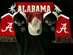 2021 Ncaa Championship Game Alabama Crimson Tide Scarf And 3 Caps New W. Tags