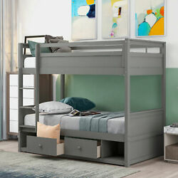 Twin Over Twin Bunk Bed Wood W/ Two Drawers And Two Storage Bedroom White/gray