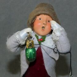 Christmas Figure Caroler Byerand039s Choice 1999 Child W/ Ornament Pickle Usa Seller