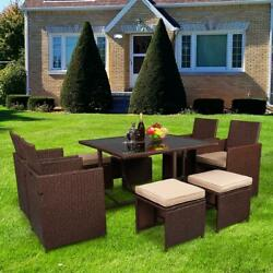 9 Pieces Wicker Rattan Dining Sofa With Tempered Glass Table Patio Furniture Set