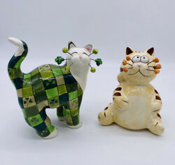 Whimsiclay 2004 Lacombe Cat Figurine Green With Shamrocks and Tiger Cat Bank Lot