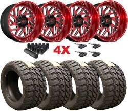 22x12 Fuel Triton Candy Red Brushed Wheels Rims Tires 33 12.50 22 F-150 Titan