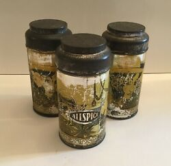 3 Antique Vtg Spice Tins Can 1920-30 Allspice Ginger Baking Powder Yellow 5