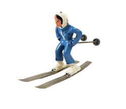 Vintage Barclay Christmas Village Lead Toy Figure Girl Skis Blue Downhill Skier