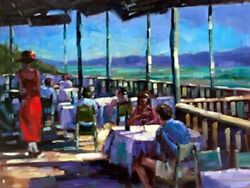 Michael Flohr Land039auberge View- 36x48 Hand Enhanced Giclee Canvas S/nw/coa-offer