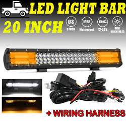 20inch 1200w Led Light Bar Amber Spot Flood Combo Work Ute Truck Suv Atv 22and039and039