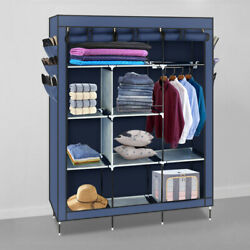 69quot; Wardrobe Portable Closet Storage Organizer Clothes Non woven Fabric Wardrobe