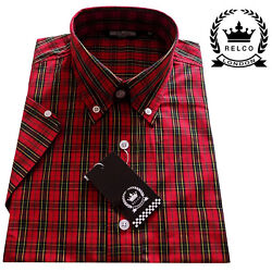 Relco Menand039s Red Tartan Short Sleeve Check Button Down Collar Skins Mods Shirt