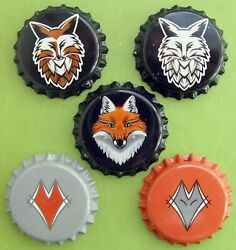 5 Unused Beer Bottle Caps Fox --- Not For Latin And South America