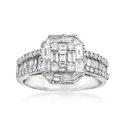 C. 1990 Vintage 1.49 Ct. T.w. Diamond Cluster Ring In 18kt White Gold. Size 6.5