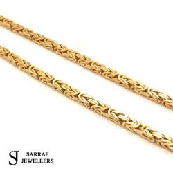 Byzantine King Chain 375 9ct Yellow Gold Mens Solid Square Necklace 22 3mm