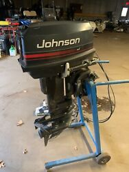 1996 Johnson 25 Hp Outboard Boat Motor Engine Evinrude 15 Short Shaft Controls