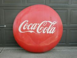 Weathered 48 Coca-cola Porcelain Button Sign Local Pickup Michigan