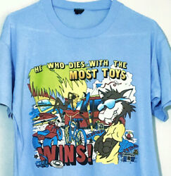 Men's Xl Vintage 1980s Who Dies With Most Toys Cool Cat Single Stitch T-shirt S