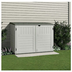 Bms4700 Storage And Garbage Can Shed, Resin, Holds Two 96-gal. Containers, 70-cu.