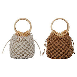 Handcrafted Mini Girls Woven Basket Woven Tote Spring Travel Knitted Handbag $13.62