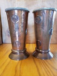 2 Antique Copper Silver Gambling Tankards With Georgius Iii Coins And Dice