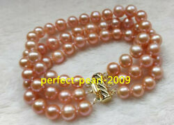 3 Rows Natural 8-9mm South Sea Pink Pearl Bracelet 7.5-8 Inch 14k Clasp