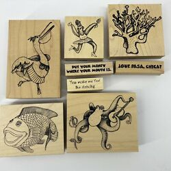 Kantorkards Rubber Stamps Fish Pelican Octopus Starfish Coral Que Pasa Nautical