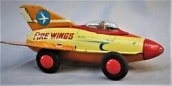 Vintage Tin Friction Rocket Car - Fire Wings - Made In Japan By Marusa