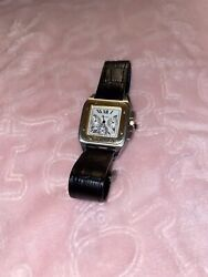 Santos Silver Menand039s Brown Leather Strap Watch - W20073x8