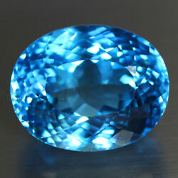 49.13 Cts_fantastic Electric Luster_100 Natural Super Blue Topaz_romantic Oval