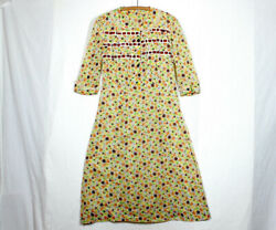 Vtg 30s Cotton Gauze Dress L Colorful Print Ribbons Odd Buttons Depression As Is