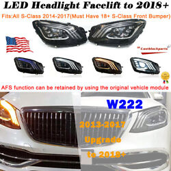 W222 Headlights For 13-2017 Mercedes S-class Afs Facelift Upgrade 2018+ Led L+r