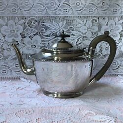 Walker And Hall Antique C1870 Silver Plate Tea Pot Ebony Handle And Finial