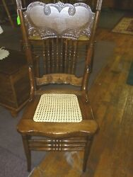 Antique Oak Press Back Chair Larkin Style 1 Refinished Hand Cane Seat 1900and039s