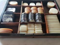 Antique Set Of Mother Of Pearl Poker Chips,different Sizes, Total 246 Units
